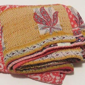Kantha Quilted Throw Blanket Pink Orange Print